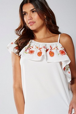 Be You Embroidered Asymmetric Frill Top