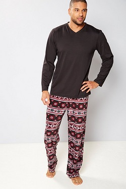 Fleece Pyjamas - Fairisle Black