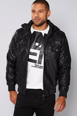 D Rock PU Hooded Jacket