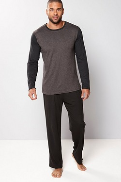 Jersey Long Sleeve Pyjamas - Black/...