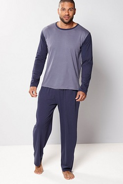 Jersey Long Sleeve Pyjamas - Navy/D...