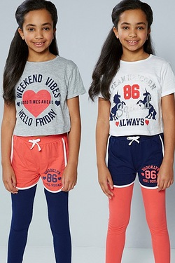 Older Girls Brooklyn Girl Squad Pack Of 2 Shorts