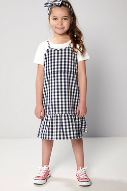 Girls Gingham Dress With T-Shirt and Headband