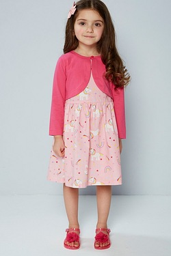 Girls Woven Dress With Jersey Cardigan
