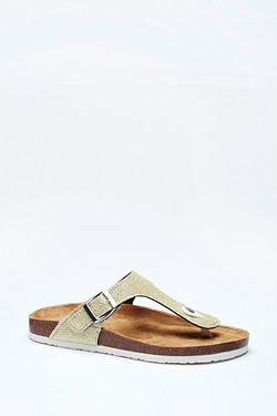 Be You Glitter Toe Post Footbed Sandal