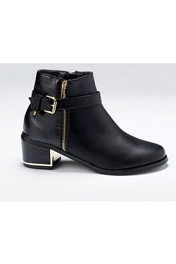 Girls Buckle Ankle Boot With Gold D...