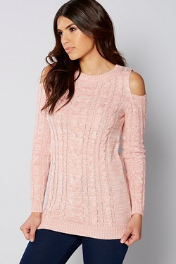 Be You Cold Shoulder Cable Jumper