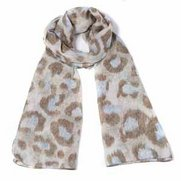 Leopard Print Woven Scarf - Brown/Blue