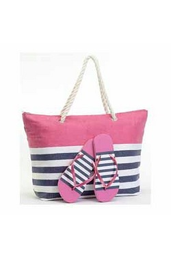 Stripe Beach Bag With Matching Flip...