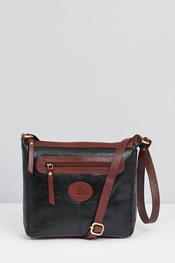 Leather Contrast Zip Cross Body Bag