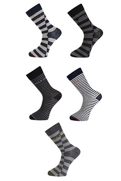 Jack & Jones Pack Of 5 Stripe Socks