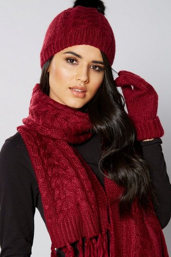 Image for 3-Piece Luxury Scarf, Beanie and Gloves Set - Wine from ace