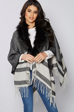 Removable Faux Fur Collar Wrap Cape...