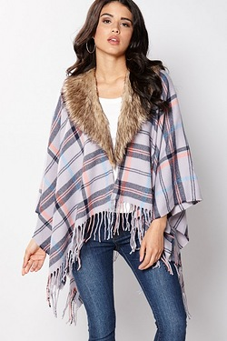 Removable Fur Collar Wrap Cape - Gr...