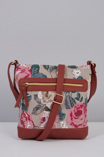 Image for Canvas PU Cross Body Bag - Rose Tan from ace