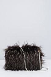 Faux Fur Cross Body Bag - Black