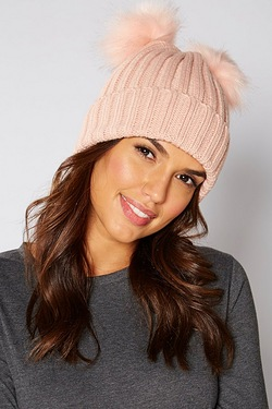 Double Pom Hat - Pink