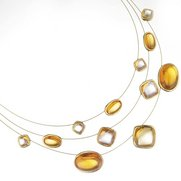 Gold Glass Topaz Necklace