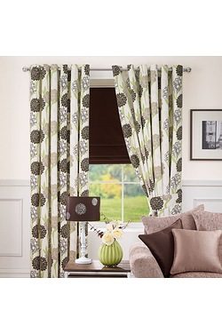 Floral Print Eyelet Curtains