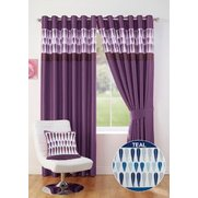 Chilli Eyelet Top Border Curtains W...