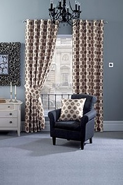 Ronja Faux Silk Eyelet Curtains Inc...
