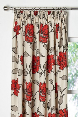 Bouquet Lined Pencil Pleat Curtains
