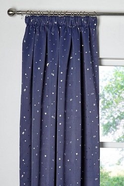 Moon and Stars Metallic Print Thermal Blackout Curtains