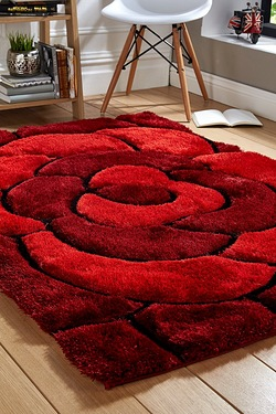 Carved Rose 3D Shaggy Rug
