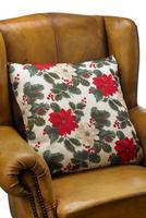 """Image of Poinsettia Cushion - 18 x 18"""""""
