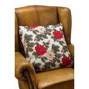 Poinsettia Cushion - 18 x 18""