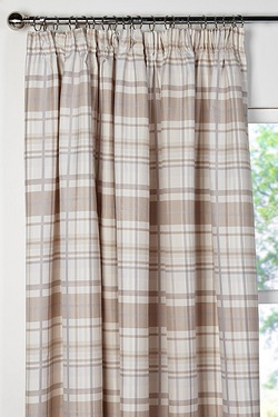 Summer Check Lined Pencil Pleat Cur...