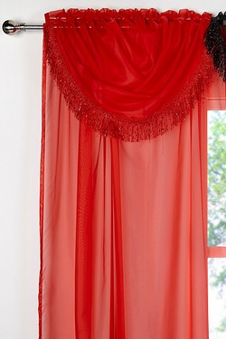 Pair Of Fringed Voile Swags