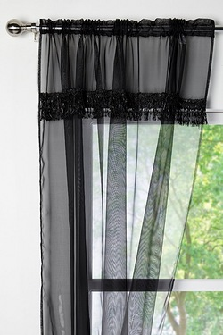 Pair Of Fringed Voile Curtains