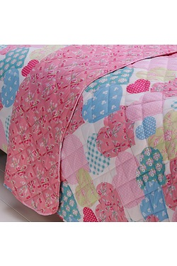 Vintage Floral Hearts Printed Throw