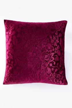 Floral Embossed Velvet Filled Cushion