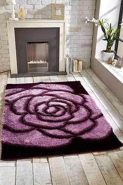 3D Rose Shaggy Rug