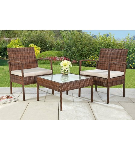 Rattan lounge set  Malaga 3-Piece Rattan-Effect Lounge Set | Studio