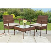 3-Piece Rattan-Effect Lounge Set