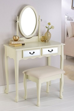 Mirrored Dressing Table and Stool Set
