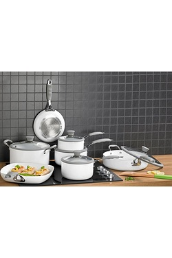 7 Piece Professional White Cookware...