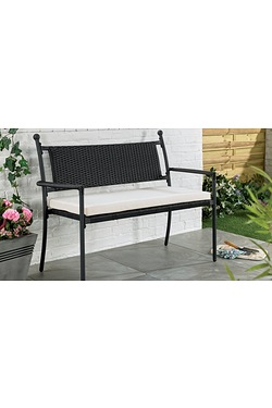 Buxton Rattan-Effect Bench With Cus...