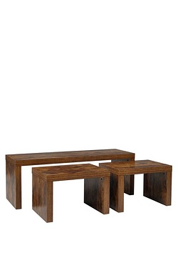 Mango Wood-Effect Long John Tables