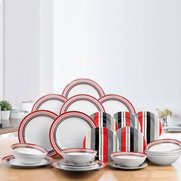 12+12-Piece Red/Black and Grey Porc...