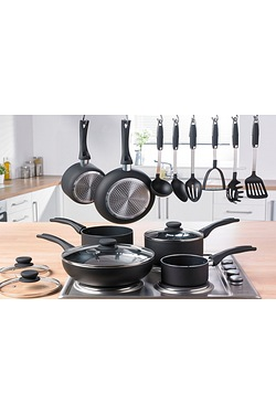 12-Piece Black Cookware Set