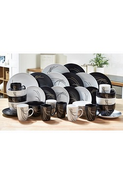32-Piece Black/White Stoneware Dinn...
