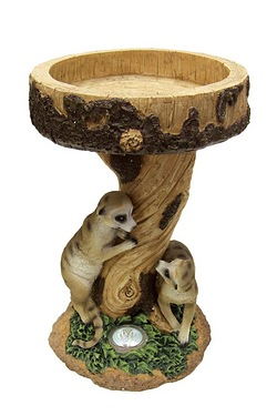 Meerkat Bird Bath with Solar Light