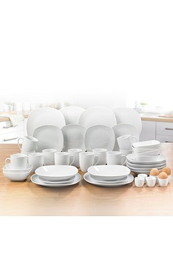42-Piece White Square Porcelain Din...