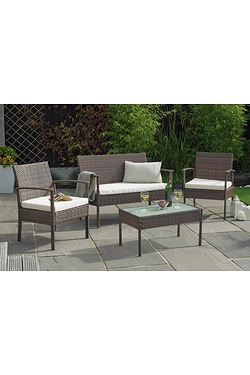 Malaga 4-Piece Rattan-Effect Lounge Set
