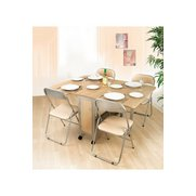 Extendable Dining Set With 4 Foldin...