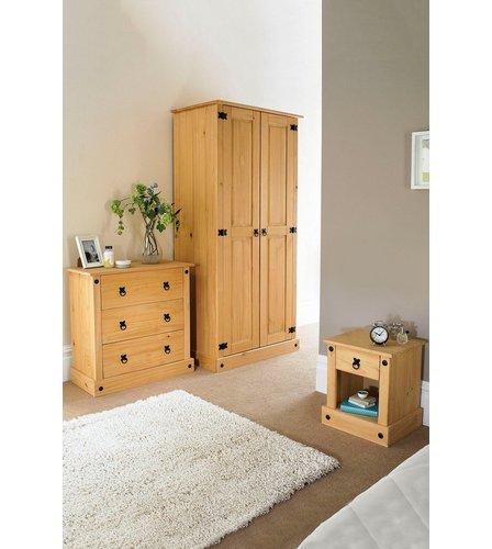 Mexican solid pine 3 piece bedroom set studio for Mexican pine bedroom furniture